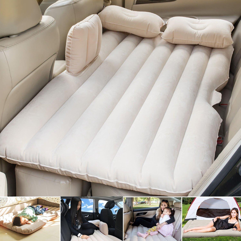 beige Auto Gonfiabile Air Materasso Sedili Letto Gonfiabile Pad Aria Posteriore Campeggio Viaggio Sleeping Airbed+Pompa Elettrica