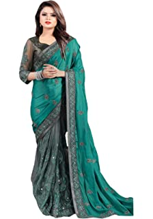 2d7010f328 Arohi Designer Women's Georgette and Heavy Net Saree with Blouse Piece  (Green, Free Size