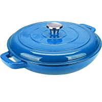 Puricon Enameled Cast Iron Casserole Braiser Pan 3.8 Quart, Ceramic Enamel Cookware Skillet with Lid and Dual Handles…
