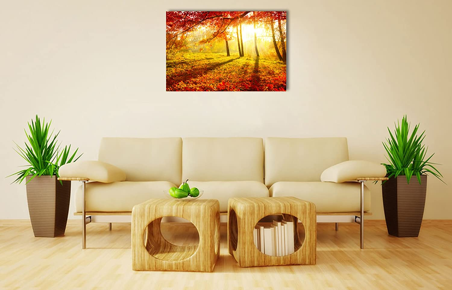 Amazon.com: Red Maple Leaves Autumn Forest Sunshine Wall Art Large ...