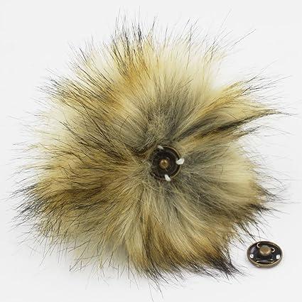 d5aaf7d5743 Amazon.com  12pcs Faux Fox Fur Pom Pom with Press Button Removable Knitting  Hat Accessories