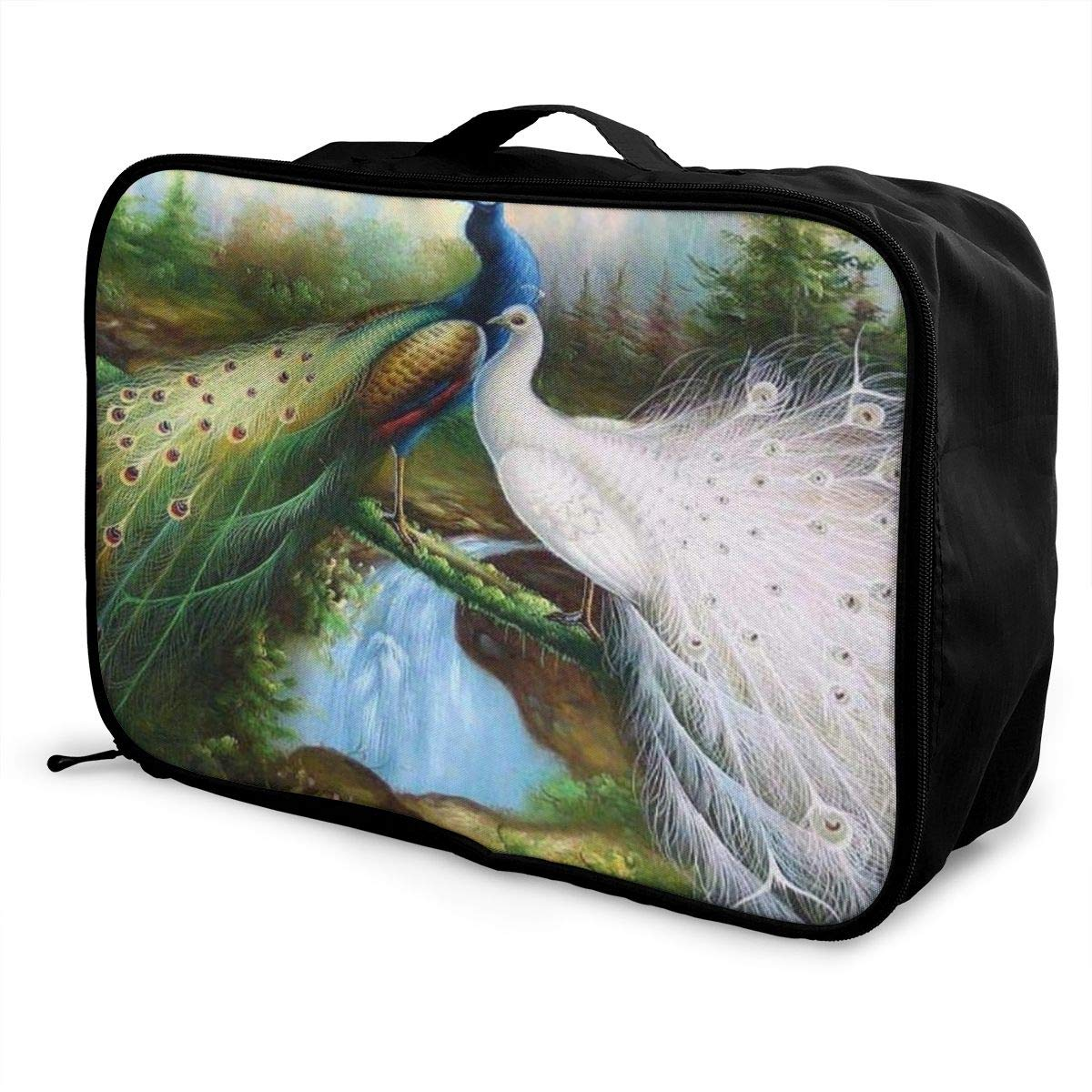 Travel Luggage Duffle Bag Lightweight Portable Handbag Peacock Large Capacity Waterproof Foldable Storage Tote