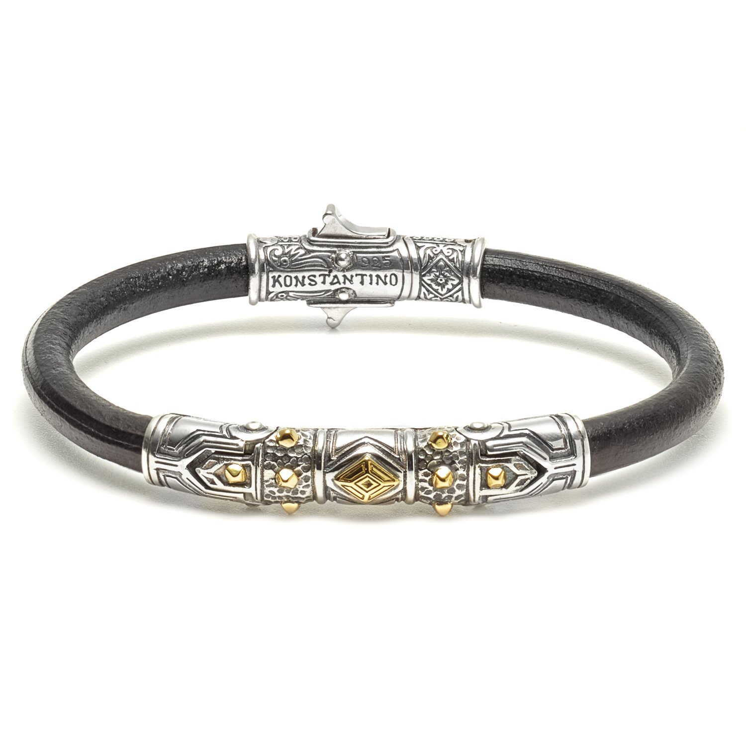 Konstantino Hephaestus Collection Silver and Gold Leather Bracelet