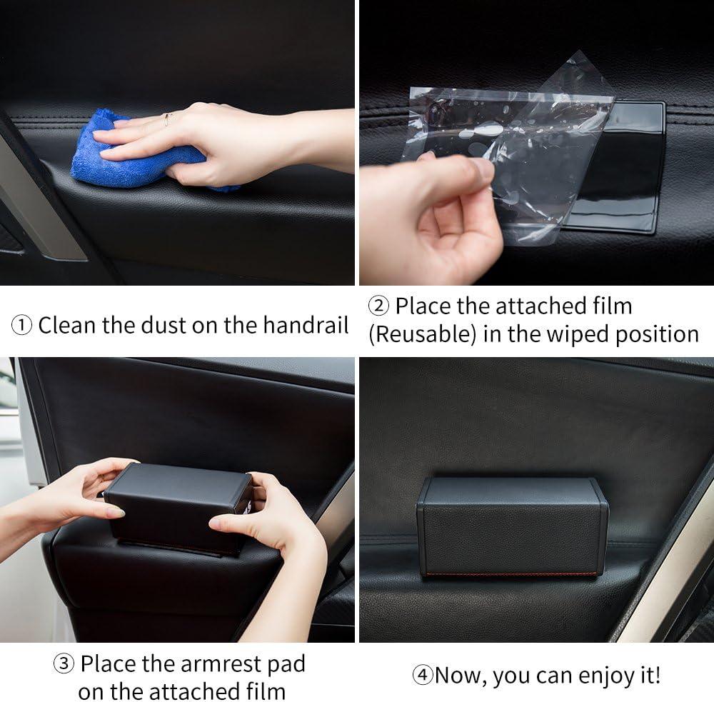 YIKA Carbon Fiber Breathable Soft Memory Foam Car Central and Side Comfort Armrest Rest Pads for Mercedes-Benz AMG C E CLA GLC GLE GLA