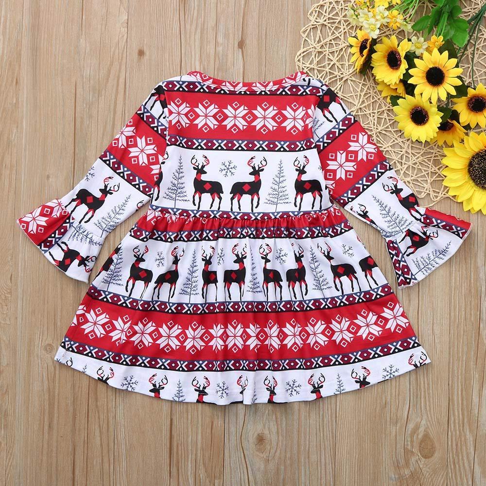 KONFA Toddler Baby Girl Christmas Deer Snowflake Print Dress Little Princess Long Sleeve Skirt Clothes Set