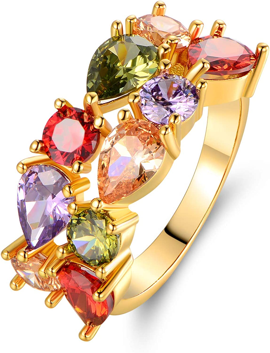 Barzel 18K Gold Plated & Rose Gold Plated Multi Color Created-Gemstone Ring