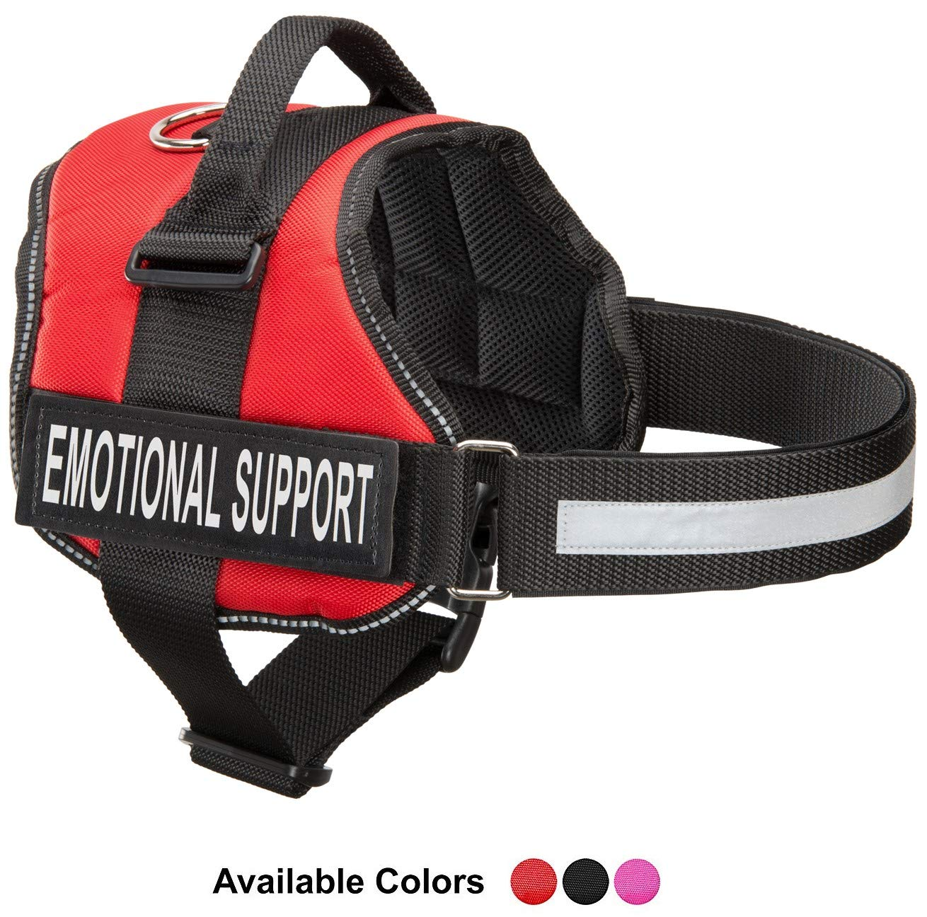 Bright Red Large, Fits Girth 27-33.5\ Bright Red Large, Fits Girth 27-33.5\ Industrial Puppy Emotional Support Dog Harness with Reflective Straps, Interchangeable Patches, Top Mount Handle   7 Adjustable Sizes   Heavy Duty Construction