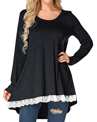 06aa03a5064 StyleDome Womens Tunic Tops Long Sleeve Crochet Lace A Line Crew Neck T  Shirt Black S
