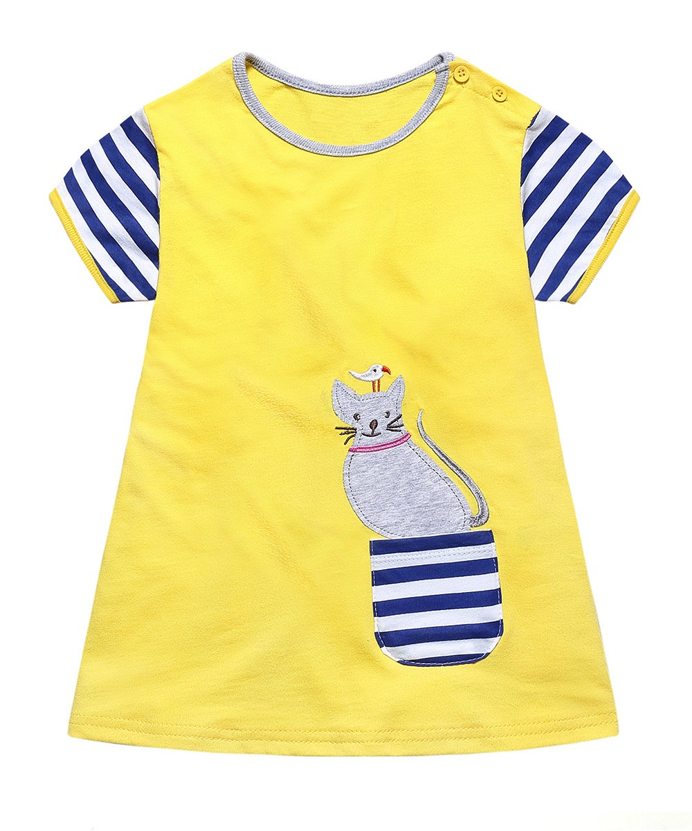 Girls Summer Casual Appliques Dresses Cotton Kids Short Sleeves Striped Yellow Dresses 3T