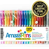 Colored Gel Pens by AmazaPens - 20 Pack Super Glitter 150% More Ink than Other Colored Pen Sets | Best for Adding Sparkle to Your Adult Coloring Books and Art Projects.