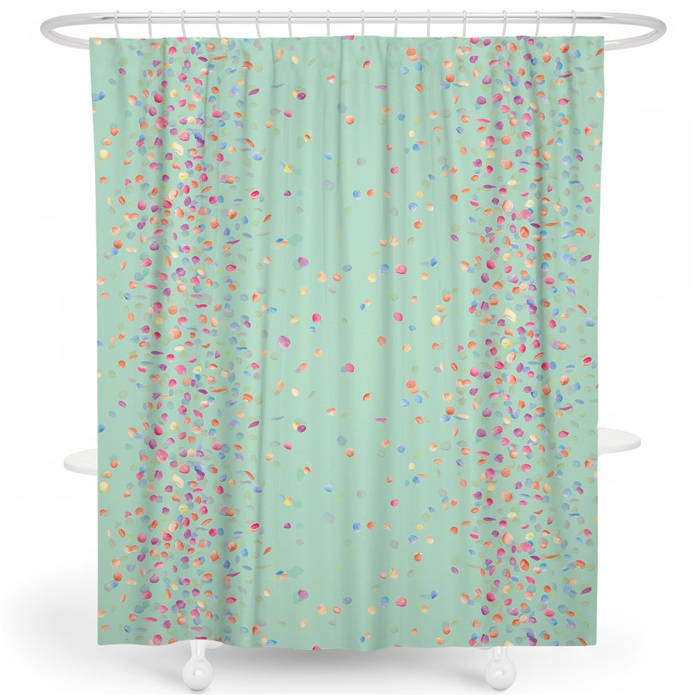 Amazon SimbaDeco Shower Curtain Bright Green Background With Colorful Little Leaves Design For Bathroom Decoration Water Proof 72 X Home