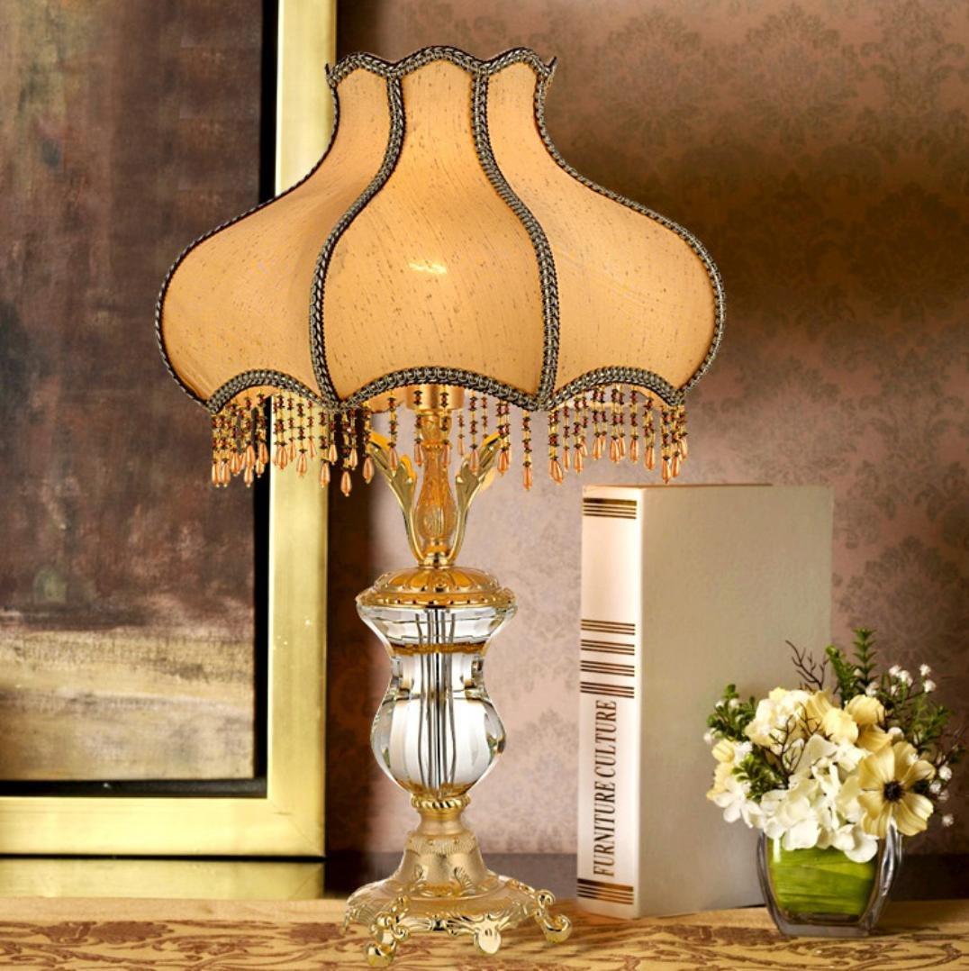 Luxus Kristall Tischlampe Schlafzimmer Nachttischlampe Hotel der gehobenen Klasse Villa romantische Ehe Zimmer dekorative Beleuchtung (ohne Lichtquelle)