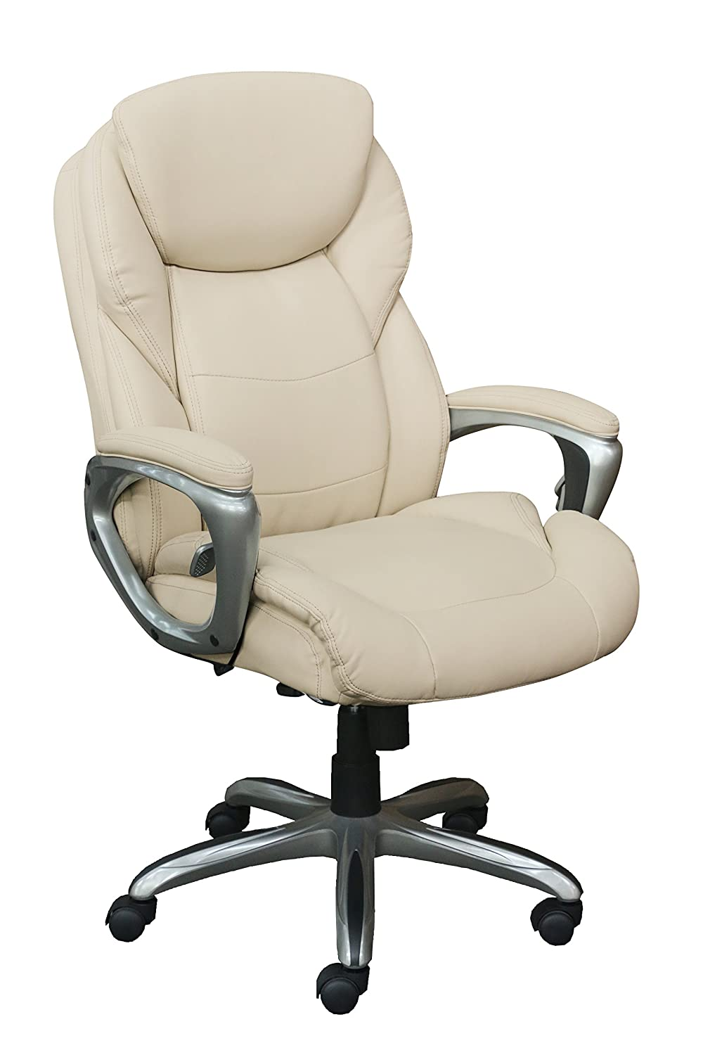 Serta Works My Fit Executive Office Chair with Active Lumbar Support, Inspired Ivory Bonded Leather