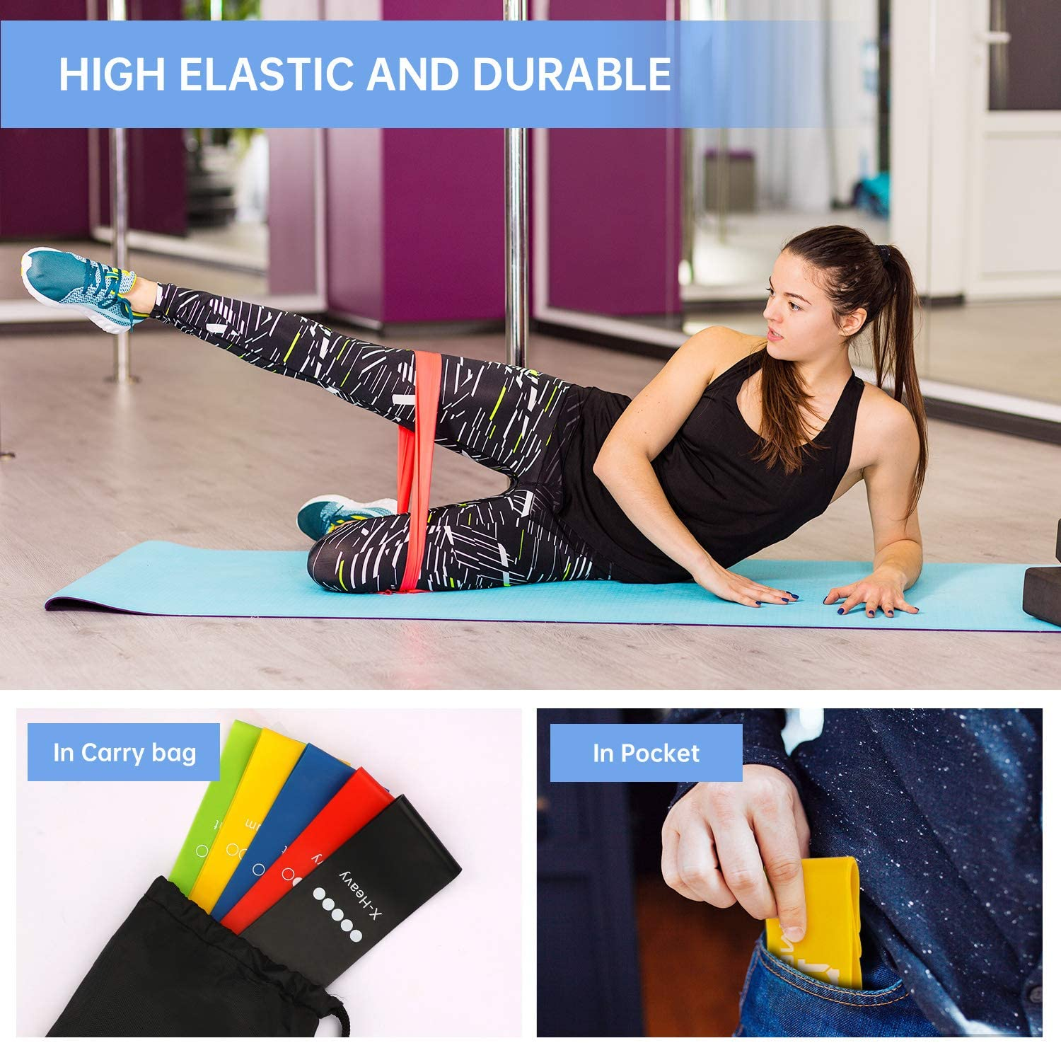 Home Fitness MENNYO Resistance Bands Physical Therapy Exercise Bands 5 Set Resistance Fitness Exercise Bands with Carry Case Ideal for Women and Men Resistance Training