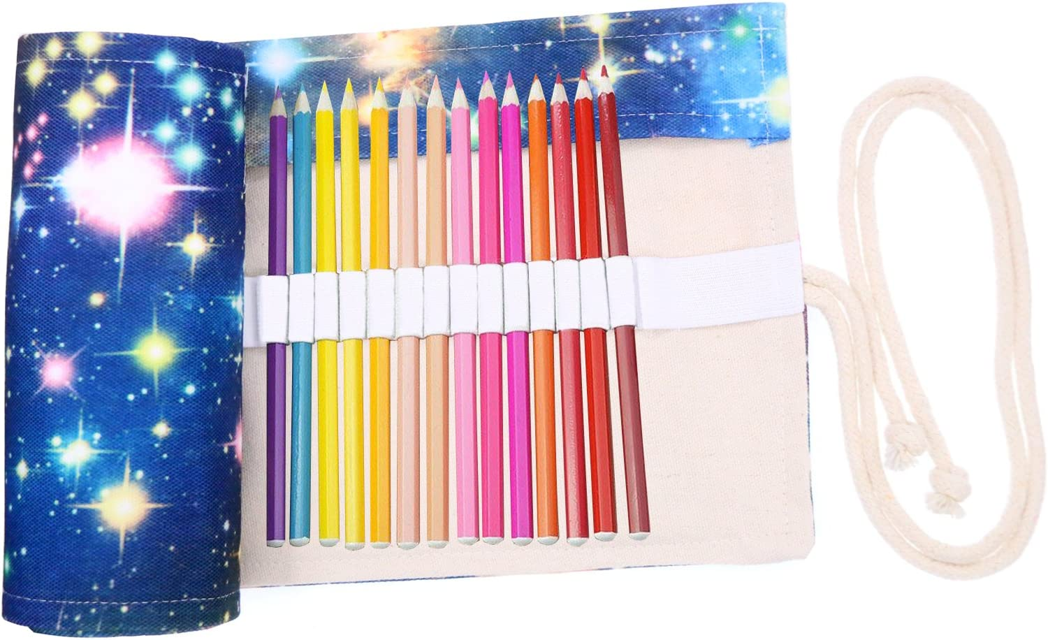 Coideal Colored Pencils Case Wrap Roll Up Holder Pouch for Artist Travel Drawing Coloring Portable Canvas Storage Organizer for Ball Pens or Pencils (72 Holes, Star Universe)