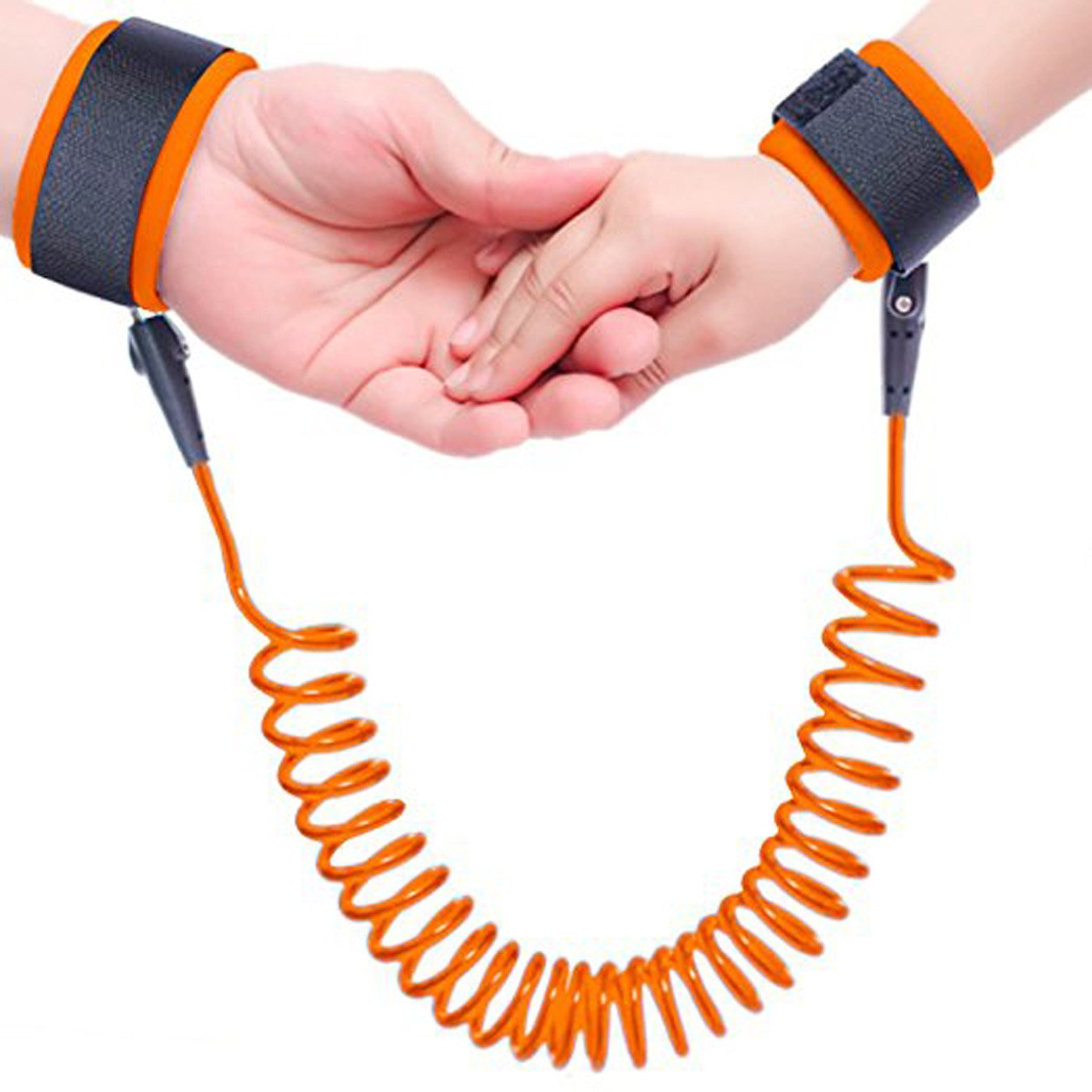 Borje Safety Child Anti Lost Wrist Link Harness Strap Rope Leash Walking Hand Belt BJ056-Orange-free size(B)