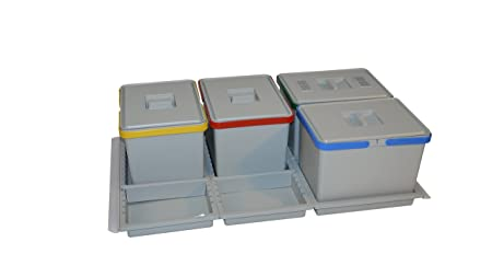 ELLETIPI Metropolis PTC28 09050 9 F C10 PPV Cubos de la Basura para Reciclaje de cajón, Gris, 81 x 46 x 28 cm