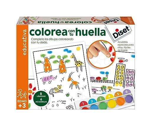 Diset Juego educativo para niños para colorear con su huella y ...