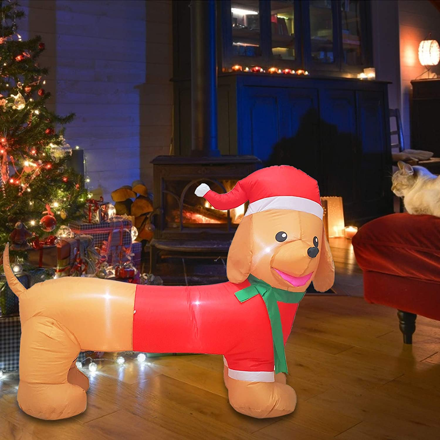 Poptrend 5ft Long Wiener Dog Self-Inflatable with Suit Perfect for Dachshund Blow Up Yard Decoration, Indoor Outdoor Yard Garden Christmas Decoration and Christmas Party Favor Decoration