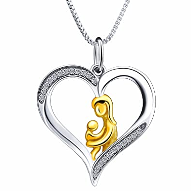 925 Sterling Silver Loving Family Mother and Child Pendant FREE Chain Necklace