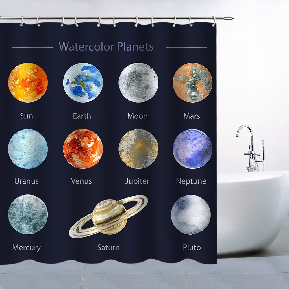 AMFD Decor Shower Curtain Tapestry Planets in the Solar System Enumerate Neat and Elegant, Polyester Fabric Waterproof Mildew Resistant 70 x 70 Inches Include Hook Dark Blue Denim