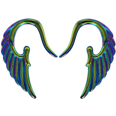 Amazon.com: Pair of Rainbow Color Angel Wing Tapers Acrylic Ear ...