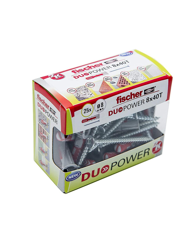 Taco DuoPower 8x40 T fischer 536391 Caja de 25 Tacos + 25 Tornillos