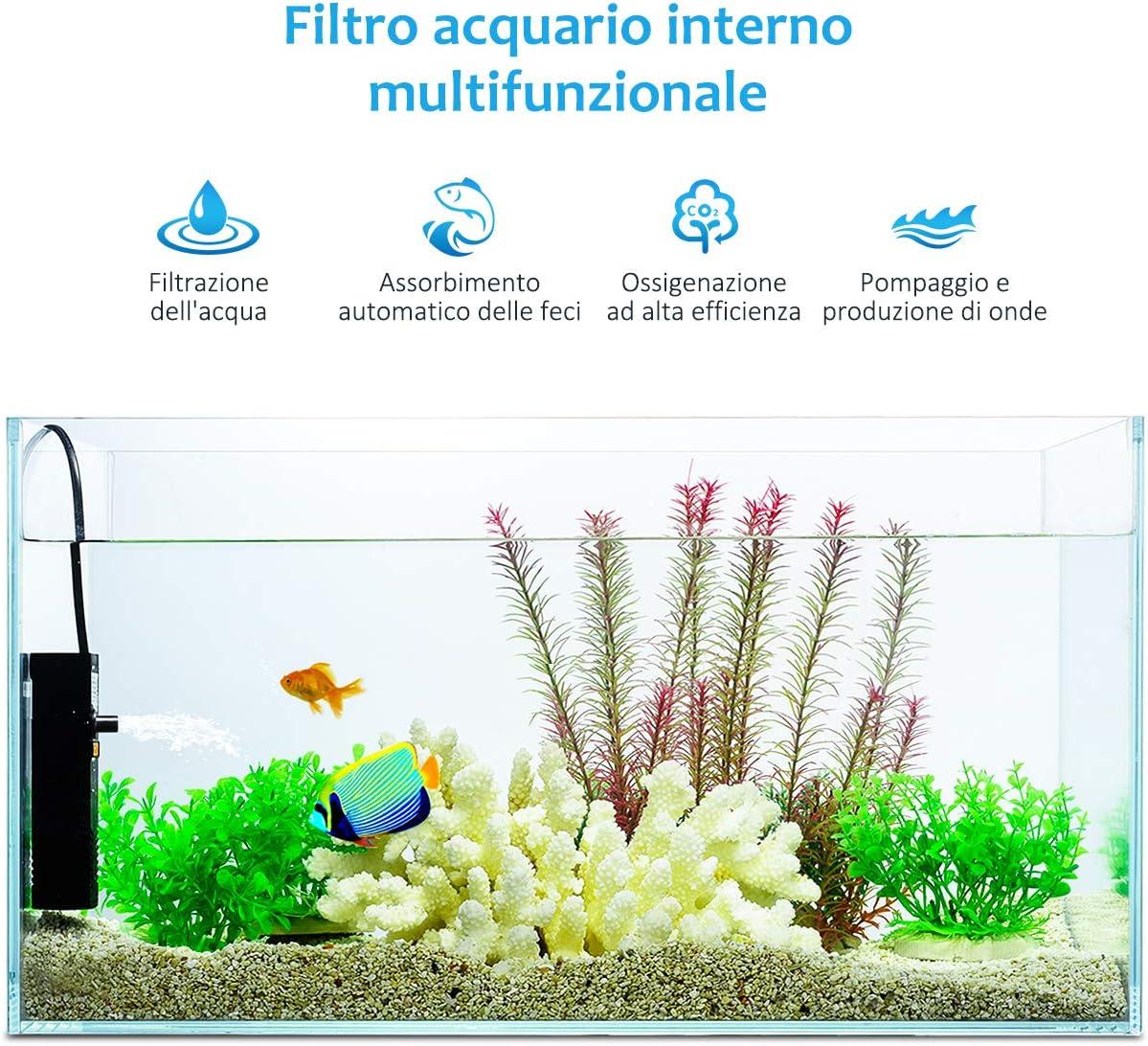 GREENLANS Filtro per Serbatoio di Pesci Mini Acquario Serbatoio per Tartarughe Sereno Purificatore Acqua Filtro Interno Pompa per Ossigeno 600L