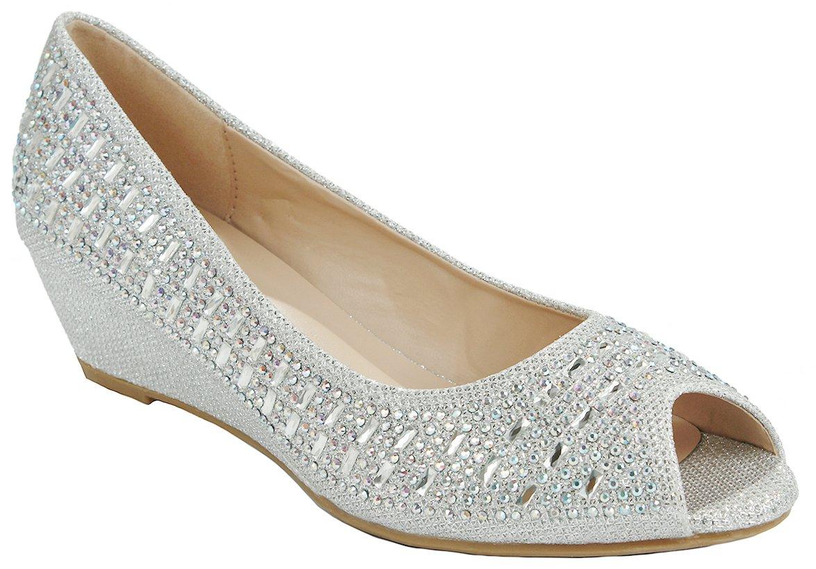 Women Fisher Silver Open Toe Sparkle Glitter Rhinestone Formal Comfort Mid Wedge Heel Dress Pumps-6
