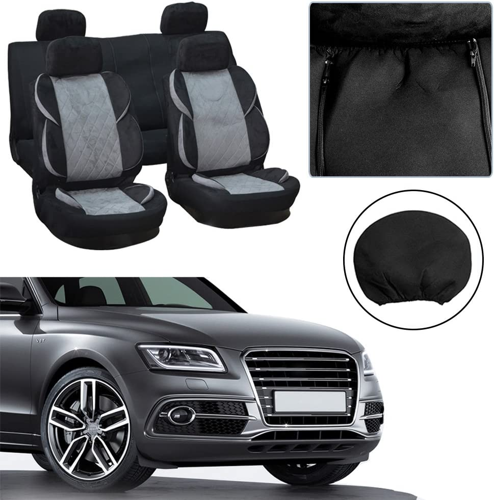 SCITOO Universal Black Car Seat Cover w/Headrest Covers 9PCS ...