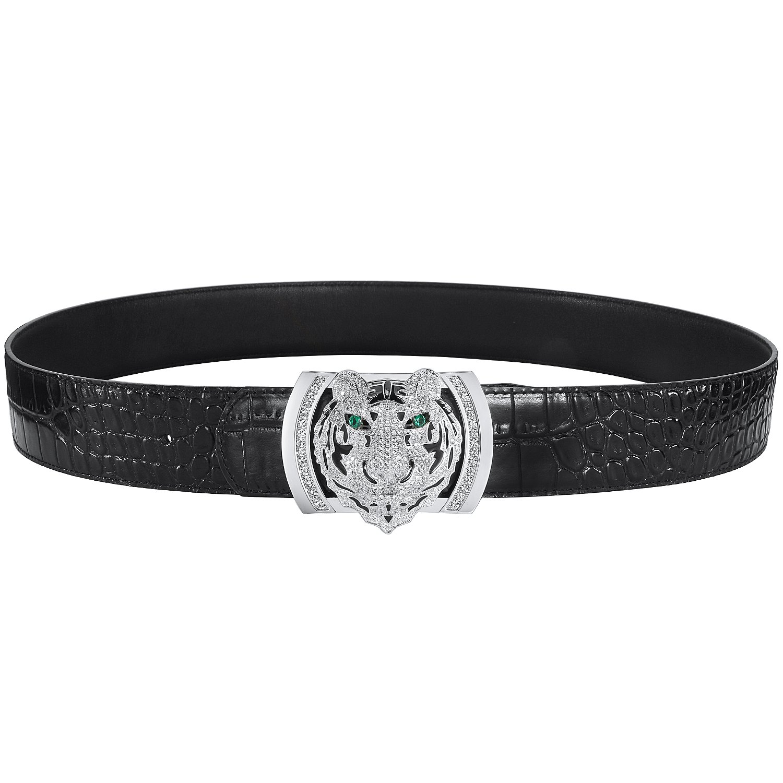 Men's Belts Luxury Genuine Leather Black Dress Belt for Men Alligator Pattern Tiger Plaque Buckle by PRINCE GERA (Image #3)