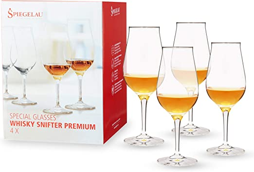 Spiegelau Premium Whiskey Snifter, Set of 4, European-Made Lead-Free Crystal, Modern Whiskey Glasses, Dishwasher Safe, Professional Quality Cocktail Glass Gift Set, 9.5 oz, clear (4460177)