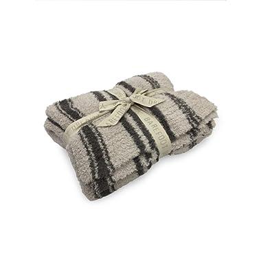 Barefoot Dreams Cozychic Multi Stripe Throw Blanket, Stone / Charcoal