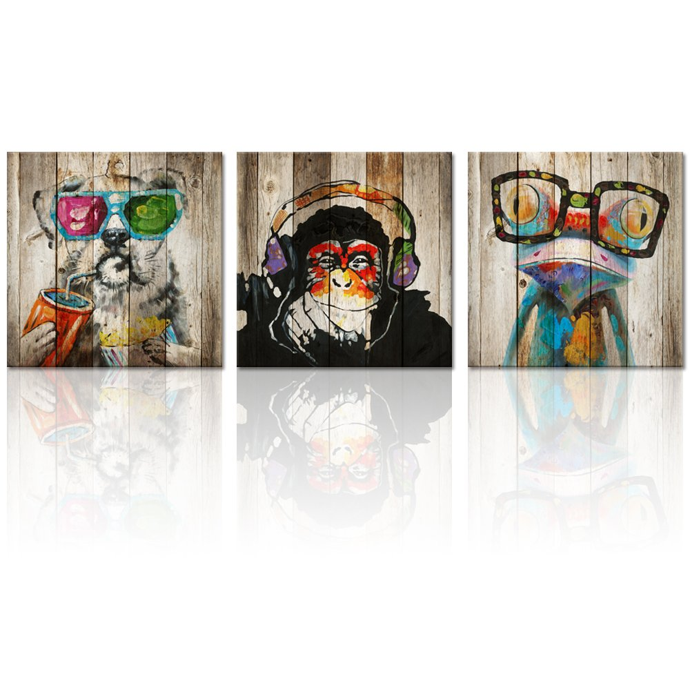 """Kolo Wall Art Animals Frog Gorilla Dog Painting Picture on Vintage Wood Background Printed on Canvas Home Wall Decor Art Living Room Bedroom Wall Art (12""""x12""""x3, Friends)"""