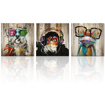 Amazon.com: Kolo Wall Art Animals Frog Gorilla Dog Painting Picture ...