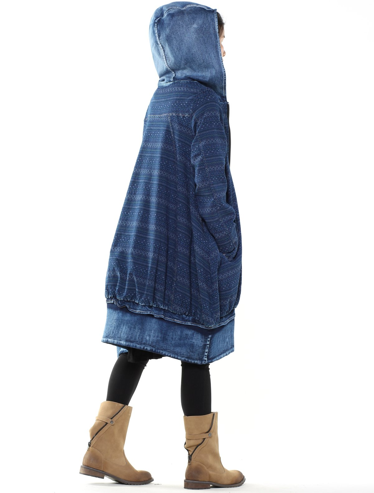 Mordenmiss Women's New Loose Fit Hoodie Zipper Up Denim Trench Coat With Pockets, Style 1-blue, Large by Mordenmiss (Image #3)