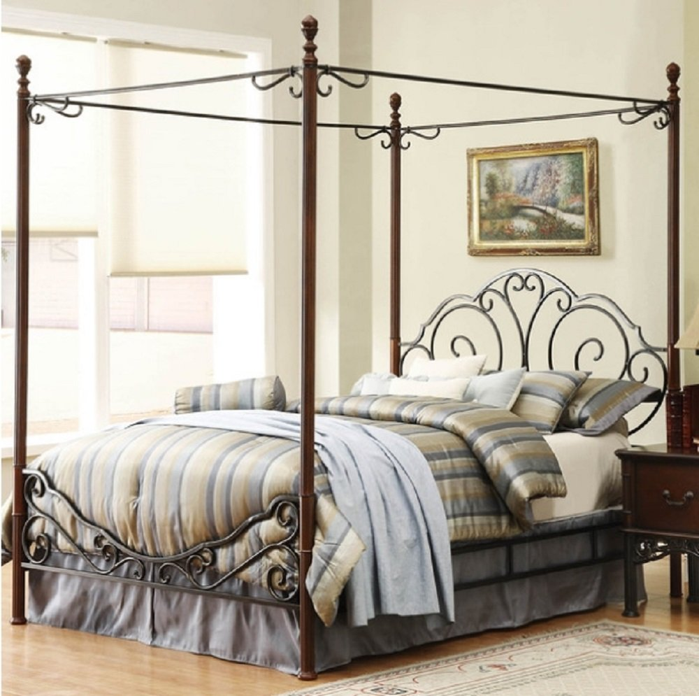 Amazon.com: Leann Graceful Scroll Iron Metal Canopy Poster Bed - Queen  Size: Kitchen & Dining