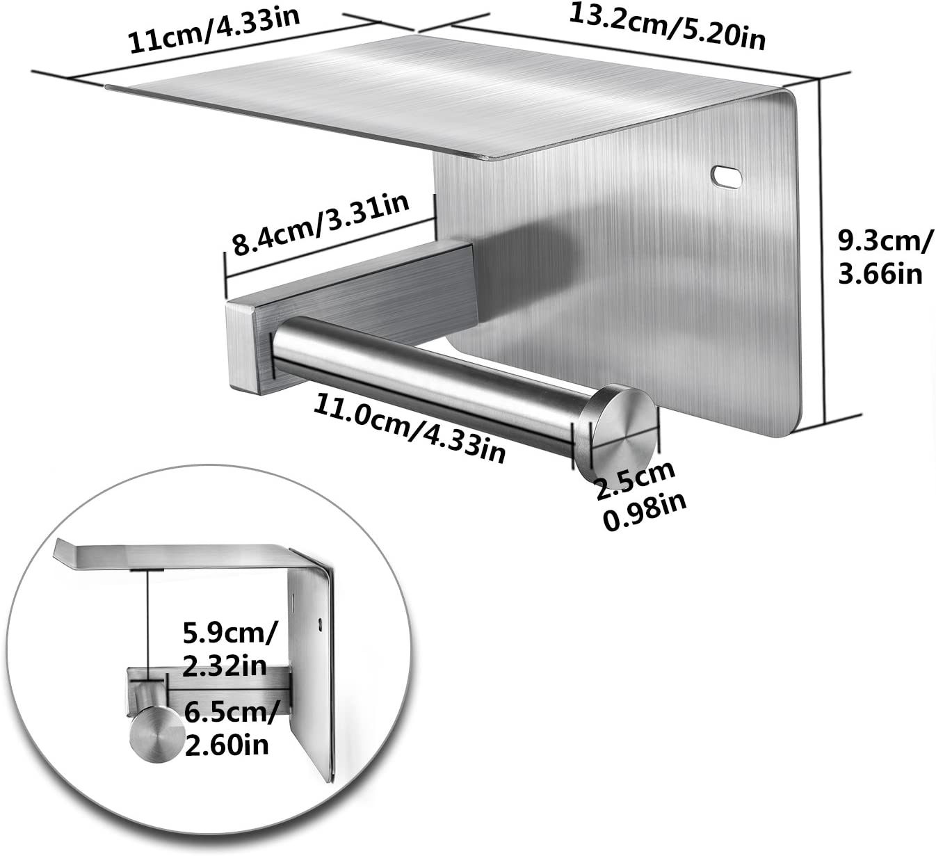perforazione Susan Porta rotolo di carta igienica in acciaio inossidabile fissato al muro antiruggine con supporto per telefono cellulare Accessorio per il bagno autoadesivo