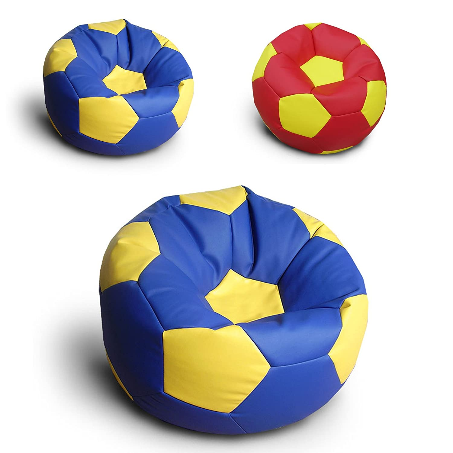 Pleasant Comfortable Gaming Beanbag Faux Leather Football Soccer Chelsea Manchester United Bean Bag Chair Blue Yellow Chelsea Style Creativecarmelina Interior Chair Design Creativecarmelinacom