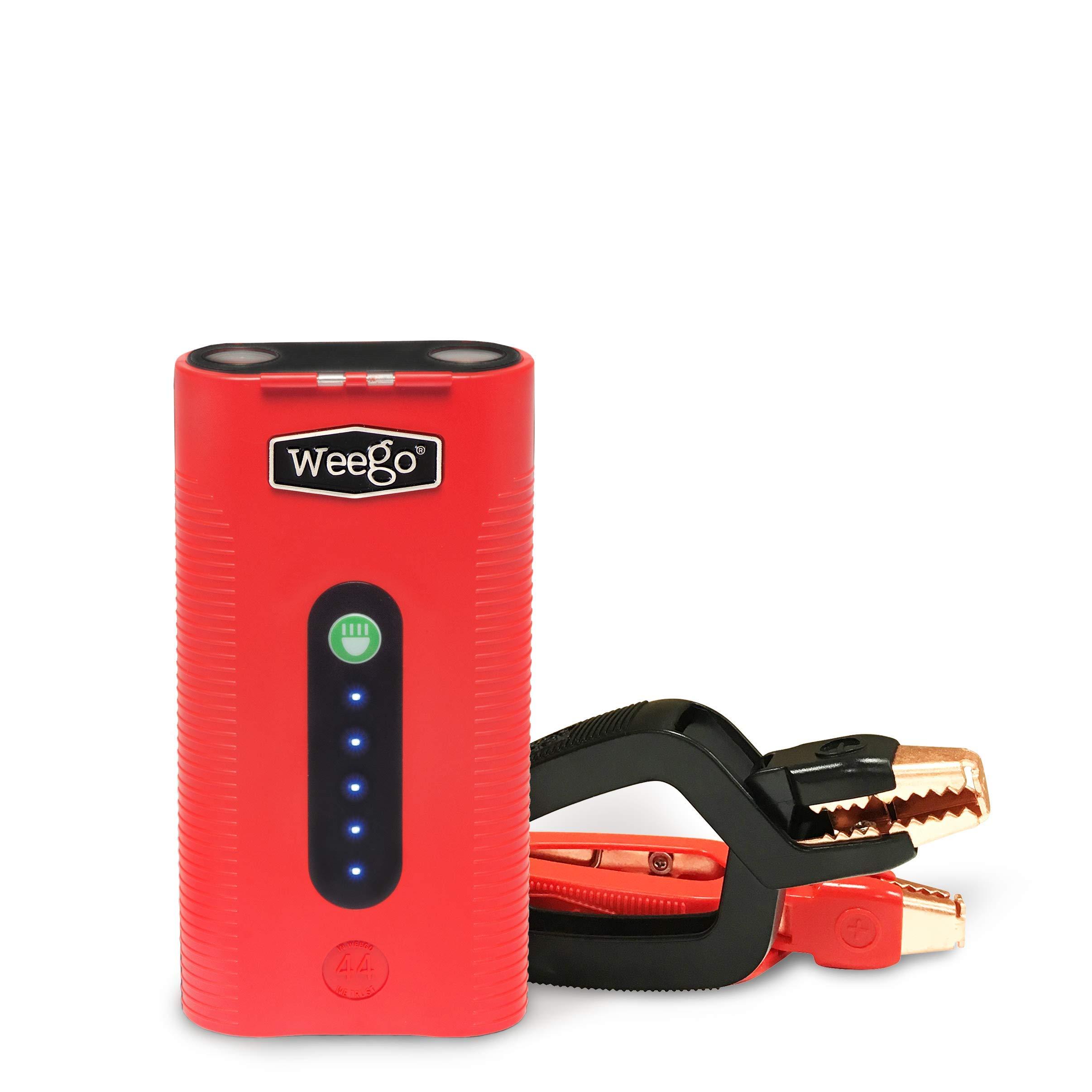 Weego 44 Jump Starter 44 – Jump Starts 7 Liter Gas & 3.5L Diesels – Quick Charges Phones, 28 -Hr 500 Lumen Flashlight, Premium, USA-Designed & Engineered IP65 Water Resistant