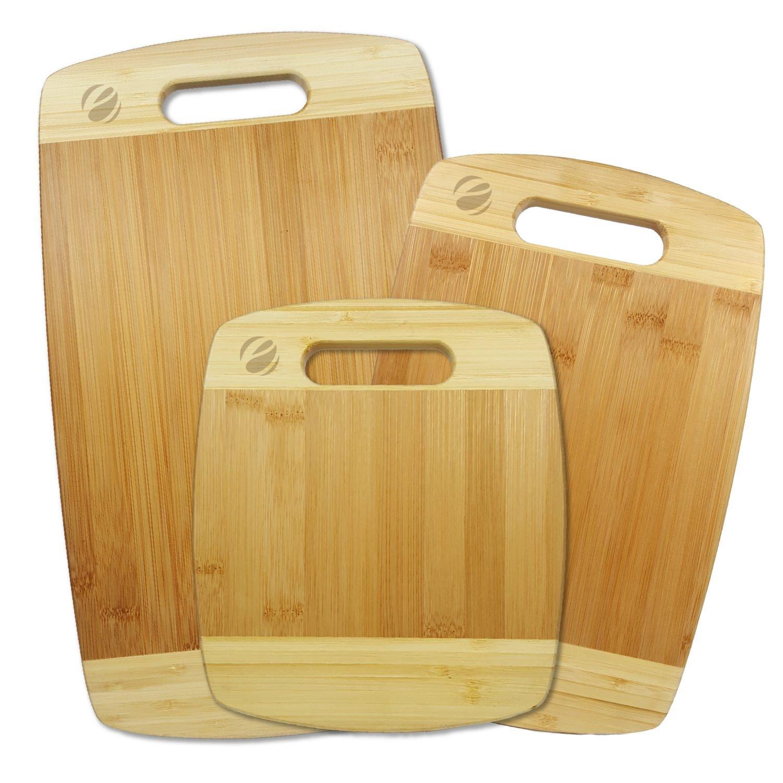 Amazoncom Eco4us 3 Piece Bamboo Cutting Board Set Kitchen Dining