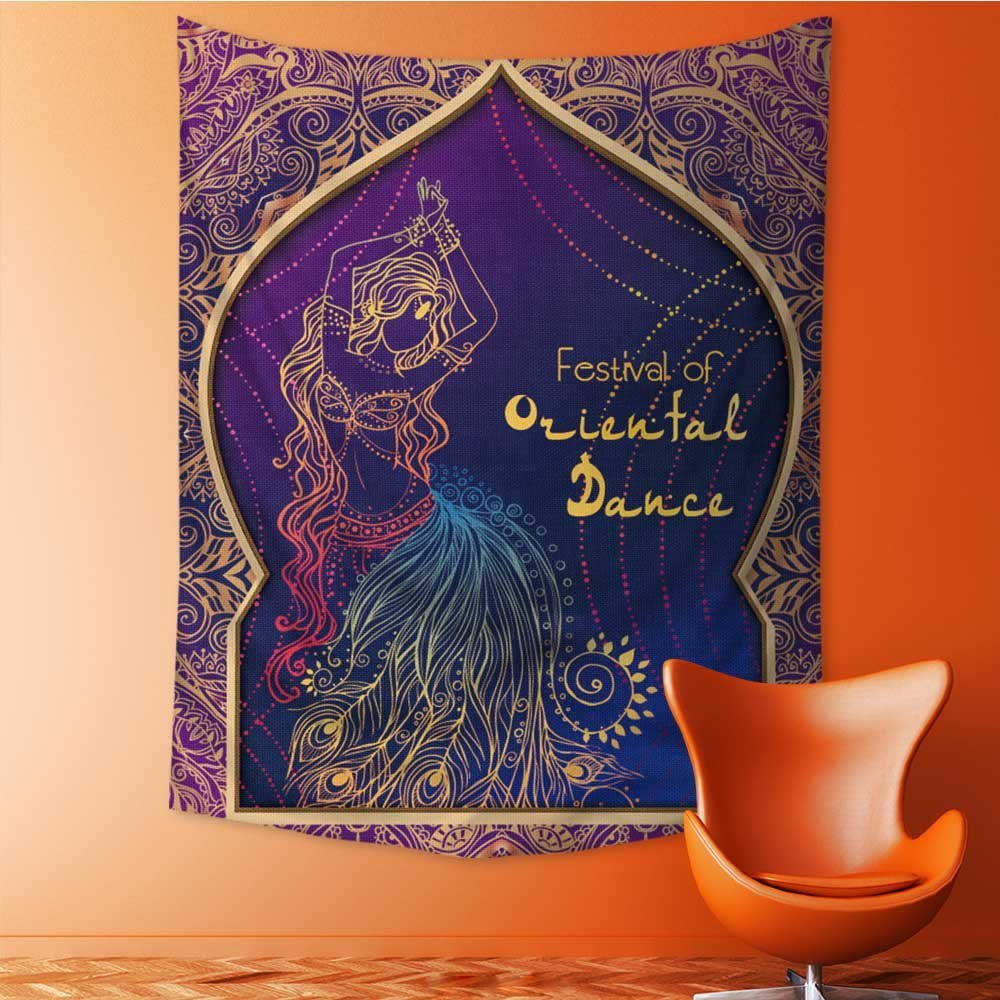Wall Hanging Tapestries ornament beautiful card with girl belly dance mehenidi element hand drawn Bedroom Living Room Dorm Decor 40W x 60L Inch