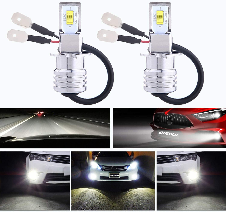 HOCOLO H3 LED Bulbs 6500K White DRL Fog Driving Light Daytime Running Lamp Replace Halogen 3570 CSP Chips High Brightness Car Vehicle Parts Plug-N-Play High Power Pack 2(H3_Fog/DRL,White/6000K)