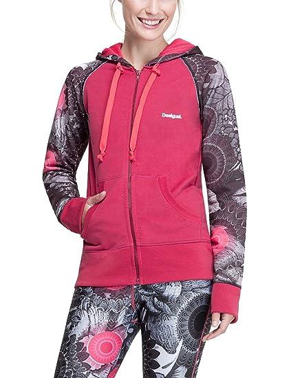 Desigual Mujer Woven Sudadera Camiseta Jacket L Zip Hoody B, Rosa, XL, 67s2sb0
