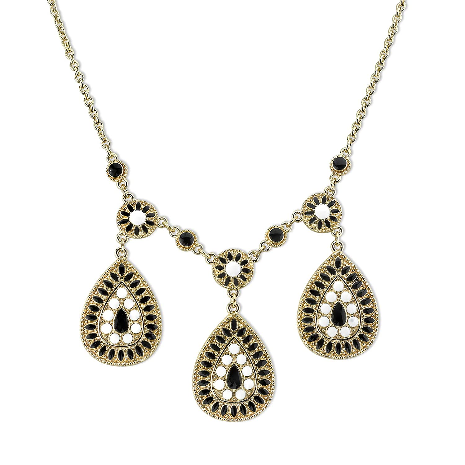 1928 Jewlery Gold-Tone Black and White Enamel Pearshape Drop Necklace 16 Adj.