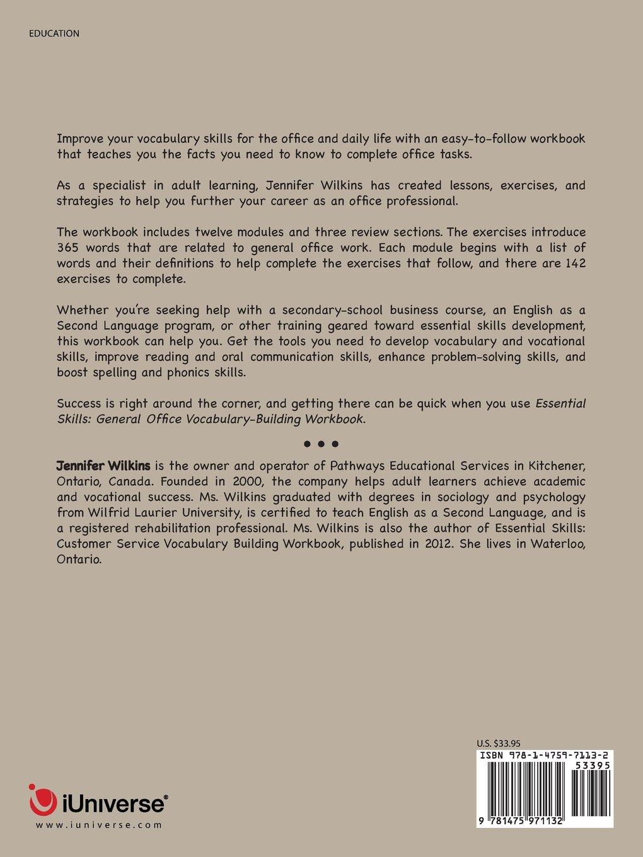 Essential Skills: A General Office Vocabulary Building Workbook: Jennifer  Wilkins: 9781475971132: Amazon.com: Books