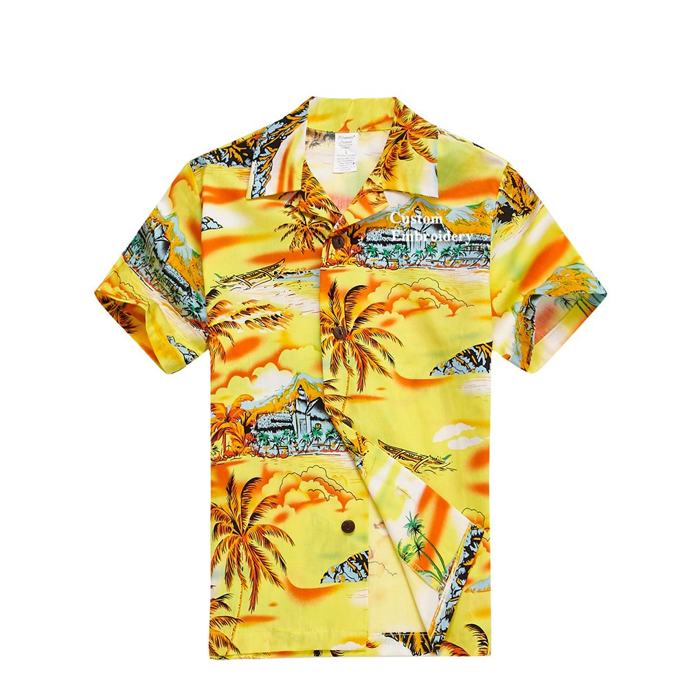 Boy Hawaiian Aloha Luau Shirt and Shorts 2 Piece Cabana Set in Yellow Map and Surfer Palm Wave 049110S