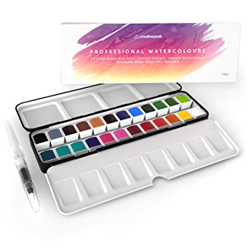 Set de pintura para acuarela, 24 sartenes vibrantes + pincel de mezcla, profesional,