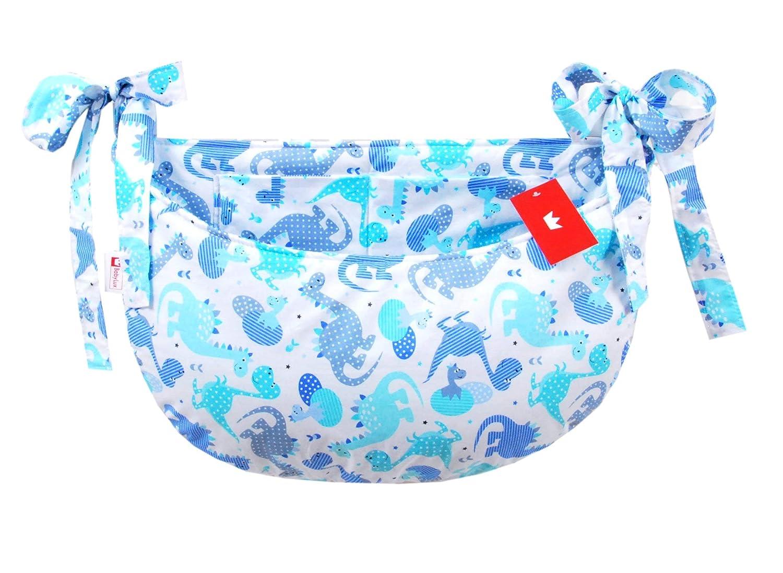 100. Dino Blau BABYLUX Babybetttasche Organizer BETTTASCHE Spielzeugtasche Tasche Babybett