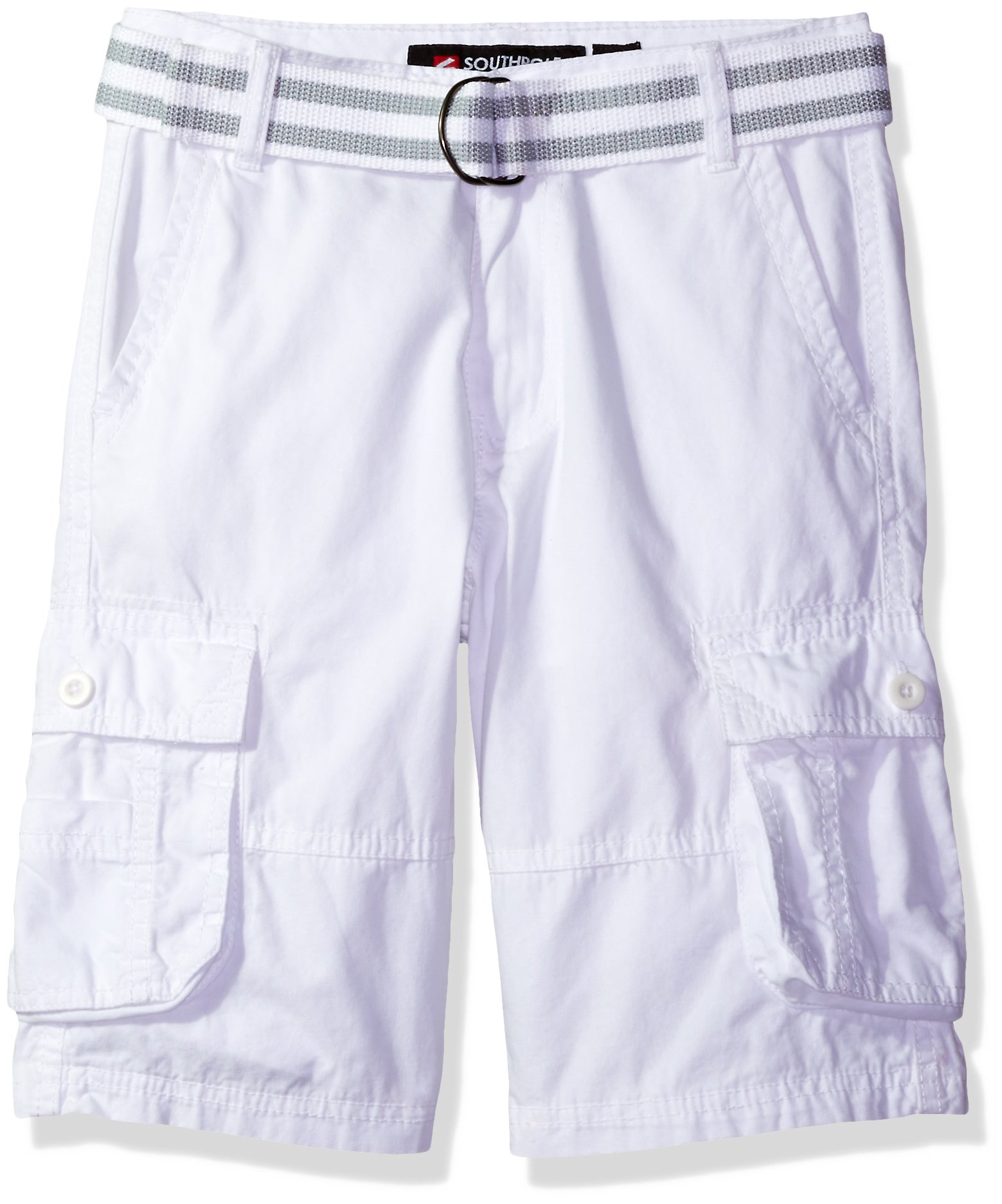 Southpole Boys' Belted Mini Canvas Cargo Shorts In Various Colors, White, 8